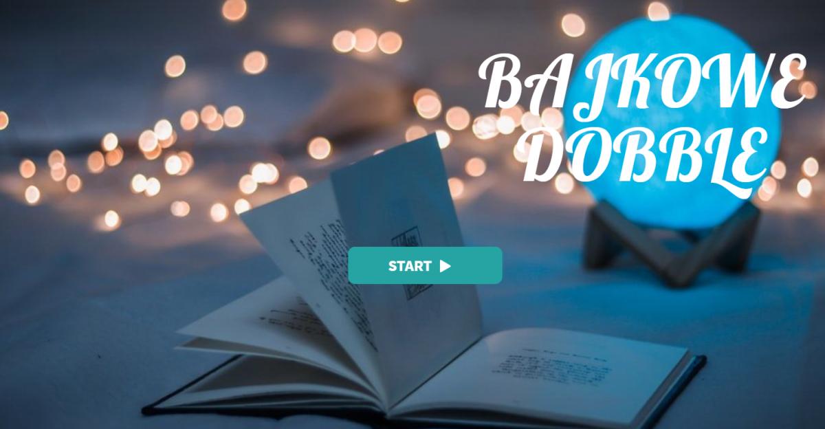 otwarta ksiązka na środku obrazka w tle migoczące lampli z prawej napis Bajkowe dobble na środku przycisk Start