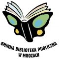 logo biblioteki na białym tle motyl, skrzydła jak rozlozona ksiazka, pod spodem napis Gminna Biblioteka Publiczna wMrozach